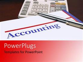 PowerPlugs: PowerPoint template with accounting book with silver pen and calculator
