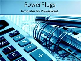 PowerPlugs: PowerPoint template with accounting and calculating with pens notebooks and calculators on a blue background
