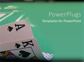 PowerPoint template displaying an ace and a king with green background