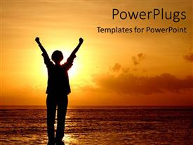 PowerPoint template displaying achievement and success cheering orange sunset