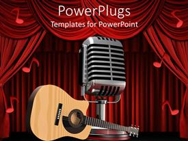 PowerPlugs: PowerPoint template with acoustic guitar on theater stage next to large silver microphone with red musical notes
