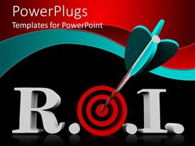 PowerPlugs: PowerPoint template with acronym R.O.I. for return of investment with red target instead of o letter and dart in bullseye