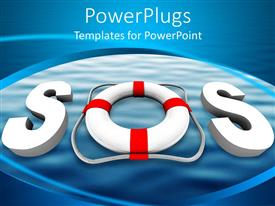 PowerPlugs: PowerPoint template with acronym SOS with letter O a swimming tube on blue bubble