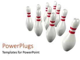 PowerPlugs: PowerPoint template with the act of bowling with white background