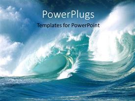 PowerPoint template displaying an action shot of ocean waves crashing
