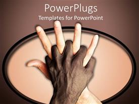 PowerPlugs: PowerPoint template with adult dark hand holding a white adult hand tightly