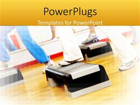 PowerPoint template displaying adult feet doing exercise and keeping healthy and fit