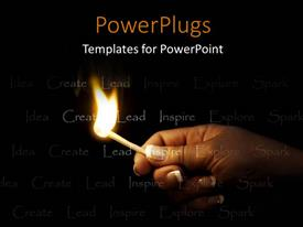 PowerPoint template displaying an adult female hand holding a lit match stick