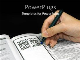 PowerPoint template displaying an adult female hand holding a pen with text that spell out some words