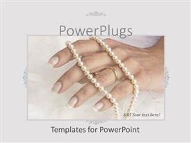 PowerPlugs: PowerPoint template with adult female hand wearing a wedding ring and a jewelry
