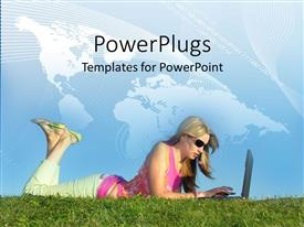 PowerPlugs: PowerPoint template with adult female lying on grass and typing on a laptop