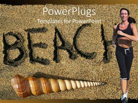 PowerPlugs: PowerPoint template with adult female running with a shell and beach text