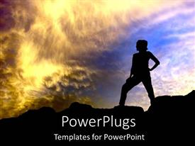 PowerPoint template displaying adult female standing akimbo staring into the evening sky