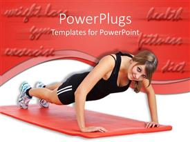 PowerPoint template displaying an adult female staring and exercising on a red mat