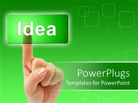 PowerPlugs: PowerPoint template with adult finger clicking on a transparent  green idea tab