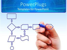 PowerPlugs: PowerPoint template with an adult hand drawing a chart on a transparent board