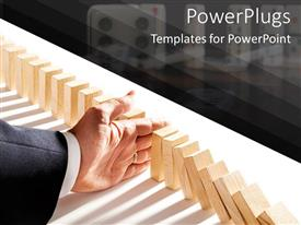 PowerPlugs: PowerPoint template with adult hand falling a row of arranged domino tabs