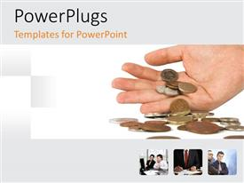 PowerPlugs: PowerPoint template with adult hand holding some coins on a white background