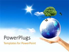 PowerPlugs: PowerPoint template with an adult hand holding an earth globe with a plant
