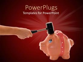 PowerPoint template displaying an adult hand holding a hammer and breaking open piggy bank