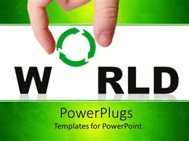 PowerPlugs: PowerPoint template with adult hand holding a recycle symbol with the text World