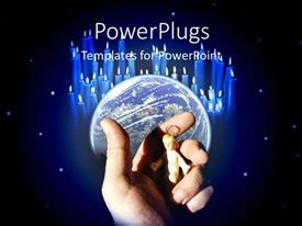 PowerPlugs: PowerPoint template with an adult hand holding a small figurine with an earth globe behind