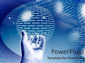 PowerPlugs: PowerPoint template with adult hand holding a spherical globe on a bluish hue background