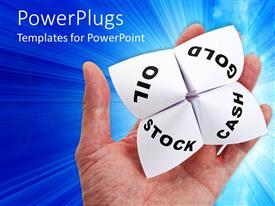 PowerPlugs: PowerPoint template with adult hand holding a white four sided paper fortune