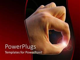 PowerPlugs: PowerPoint template with adult hand pinching a spec of light on a black background