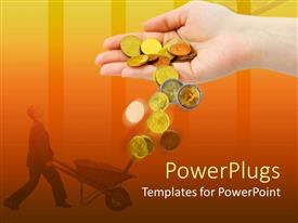 PowerPlugs: PowerPoint template with an adult hand pouring out some gold coins with a man holding a wheelbarow