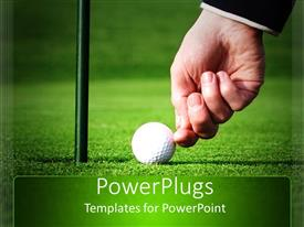 PowerPlugs: PowerPoint template with adult hand pushing and cheating a golf ball to score