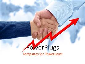 PowerPlugs: PowerPoint template with an adult hand shaking a small boys hand with a red arrow
