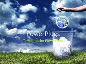 PowerPlugs: PowerPoint template with an adult hand throwing an earth globe into a dust bin