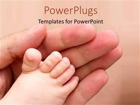 PowerPlugs: PowerPoint template with an adult hand and touching a baby's feet