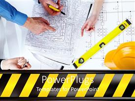 PowerPoint template displaying adult hands planning on a wide construction project paper