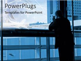 PowerPlugs: PowerPoint template with an adult human resting on a railing and staring