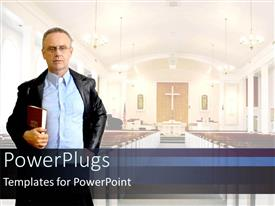 PowerPlugs: PowerPoint template with adult male in a black coat holding a bible