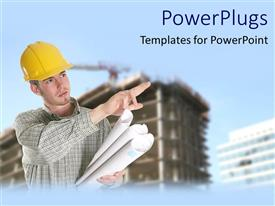PowerPlugs: PowerPoint template with adult male construction worker with some house paper plans