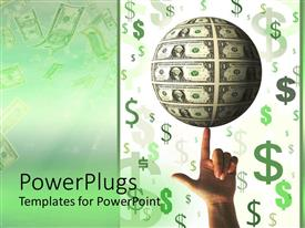 PowerPlugs: PowerPoint template with adult male hand spinning an earth globe covered with dollar bills