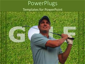 PowerPoint template displaying adult male holding a golf stick with golf text behind