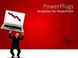 PowerPlugs: PowerPoint template with adult male holding a large laptop with an arrow symbol