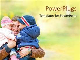 PowerPlugs: PowerPoint template with an adult male holding two small children and smiling