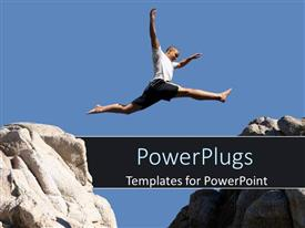 PowerPoint template displaying adult male jumping from one hill to another with clear blue sky