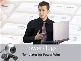 PowerPoint template displaying an adult male pointing at a laptop and a keypad background