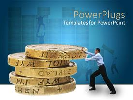 PowerPoint template displaying adult male pushing large stacked up coins on a blue background