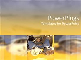 PowerPlugs: PowerPoint template with adult male sleeping in a yellow car on a blurry background