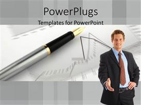PowerPlugs: PowerPoint template with adult male smiling with his and stretched out and a pen