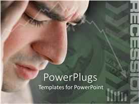 PowerPlugs: PowerPoint template with adult male in a thinking mode with dollar bill as background