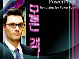 PowerPoint template displaying adult male wearing a suite and glasses in front of a house