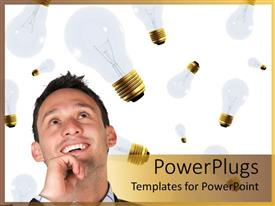 PowerPoint template displaying adult man thinking and smiling with floating light bulbs